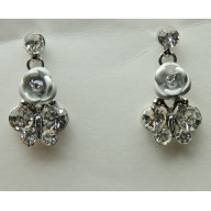 Gray Rose Earrings